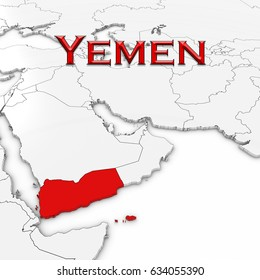 3D Map of Yemen with Country Name Highlighted Red on White Background 3D Illustration