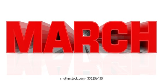 3D March word on white background 3d rendering