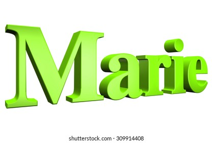 3D Marie text on white background