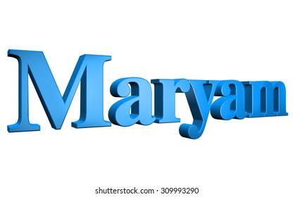 3D Maryam text on white background