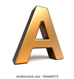 3d matte gold letter A isolated on white background