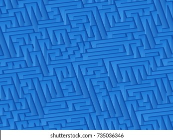 3d maze viewed from above in Blue from the Material Design palette