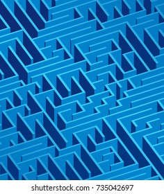 3d maze viewed from above in blue from the Flat UI palette