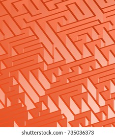 3d maze viewed from above in Deep Orange from the Material Design palette