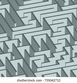 3d maze viewed from above in grey from the Flat UI palette