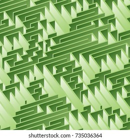3d maze viewed from above in Light Green from the Material Design palette