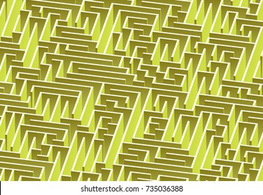 3d maze viewed from above in Lime from the Material Design palette