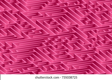 3d maze viewed from above in pink from the Flat UI palette