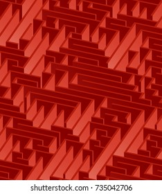 3d maze viewed from above in red from the Flat UI palette