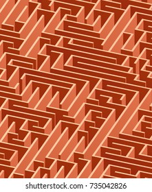 3d maze viewed from above in reddish brown from the Flat UI palette