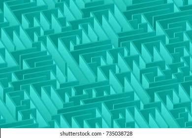 3d maze viewed from above in teal from the Flat UI palette