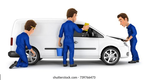 3d mechanic car maintenance, illustration with isolated white background