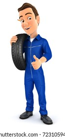 3d mechanic carrying tire on shoulder, illustration with isolated white background