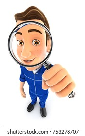 3d mechanic looking into a magnifying glass, illustration with isolated white background