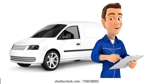 3d mechanic with notepad in front of car, illustration with isolated white background