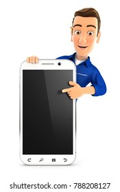 3d mechanic pointing to blank smartphone, illustration with isolated white background