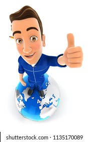 3d mechanic is standing on earth with thumb up, illustration with isolated white background