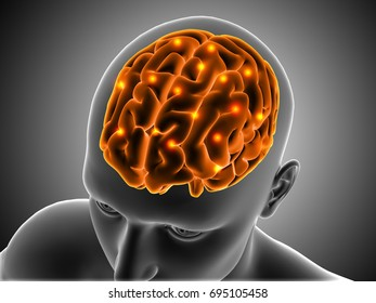 3D medical background with male figure with brain highlighted