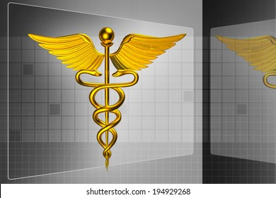 3d medical logo on a colour background