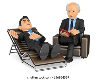 3d medical people illustration. Businessman consulting the psychologist. Isolated white background.