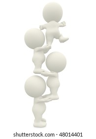 3D men helping each other to climb isolated over a white background