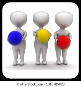 3d men holding balls concept in white isolated background , front angle view