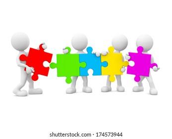 3D men holding jigsaw.
