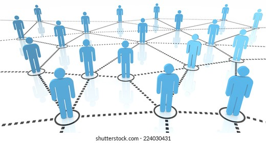 3d Men Network Social Blue People Connection Teamwork