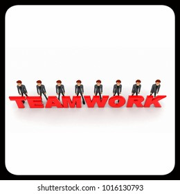 3d men standing with team work text concept on white background, top angle view