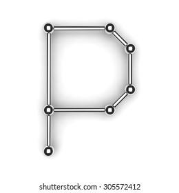 """3d metal alphabet letter - """"P"""""""