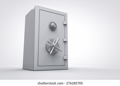 3D metal bank safe box isolated render
