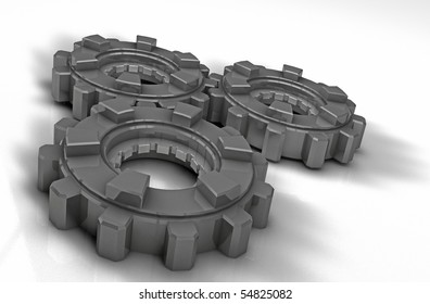 3D metal gears on a white floor.