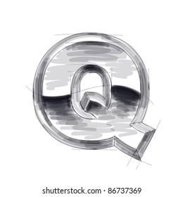 3d metal letters sketch - Q. Bitmap copy my vector