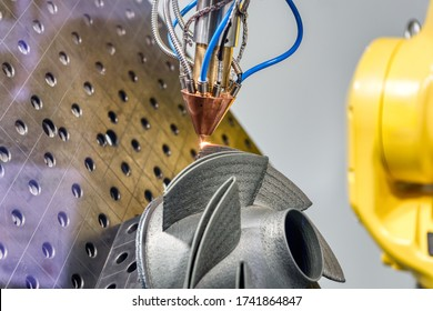 3D metal printer produces a steel part. Revolutionary additive technology for sintering metal parts. Soft focus.