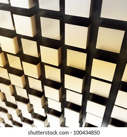 3d metallic cubes abstract wall  background