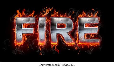 3d Metallic letter on fire
