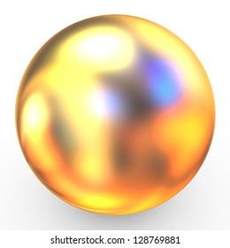 3d metallic sphere isolated on white
