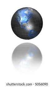 3d metallic world with blue continents with reflection