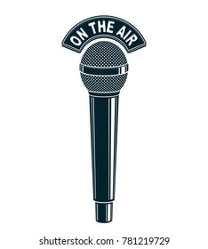 3d microphone illustration isolated on white. Radio broadcasting concept. On the air.