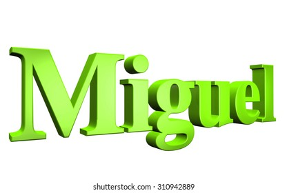 3D Miguel text on white background