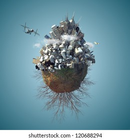 3d Mini planet as concept for chaotic urban life with full of buildings day time
