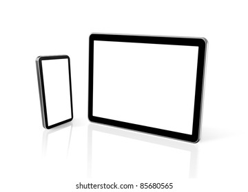 3D mobile phone and digital tablet pc computer isolated on white