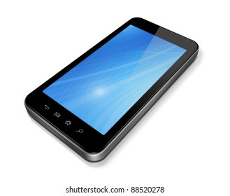 3D mobile phone, pda isolated on white with 2 clipping path : one for the phone and one for screen