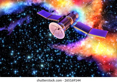 3D model of an artificial satellite of the Earth, equipped with solar panels and parabolic communication antenna against the old nebula's background