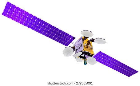 3D model of an artificial satellite of the Earth, equipped with solar panels and parabolic communication antennas