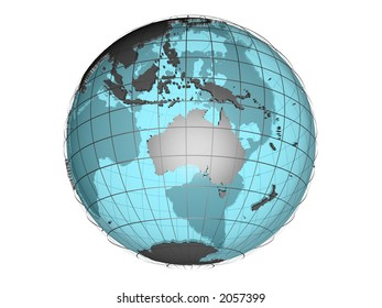 3D model of globe map showing Australian and Oceania continent, with meridians and semi-transparent oceans, on white background with clipping path attached to jpg file