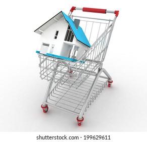 3d model house in a shopping cart