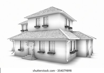 3d Model Of The House. Sketch.