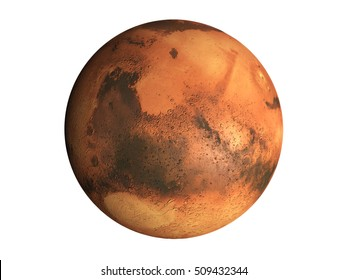 3D Model of the planet Mars isolated on white background, high resolution. Some elements of this image furnished by NASA. 3D Render