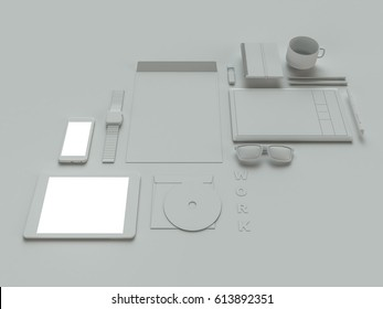 3D model of things from workplace of creative design or IT specialist.